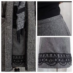 Ann Taylor Grey Wool Skirt with Embroidery detail